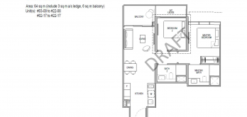 Kopar at newton Floor Plans 2 bedroom type 2d1